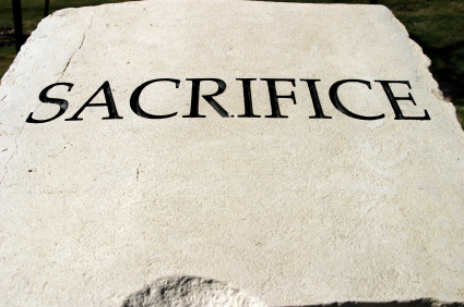 SACRIFICE is a positive & important human character trait and the one word is engraved in a slab of limestone.